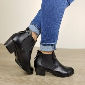 Shoes - Black Faux Leather Ankle Chelsea Boots -T